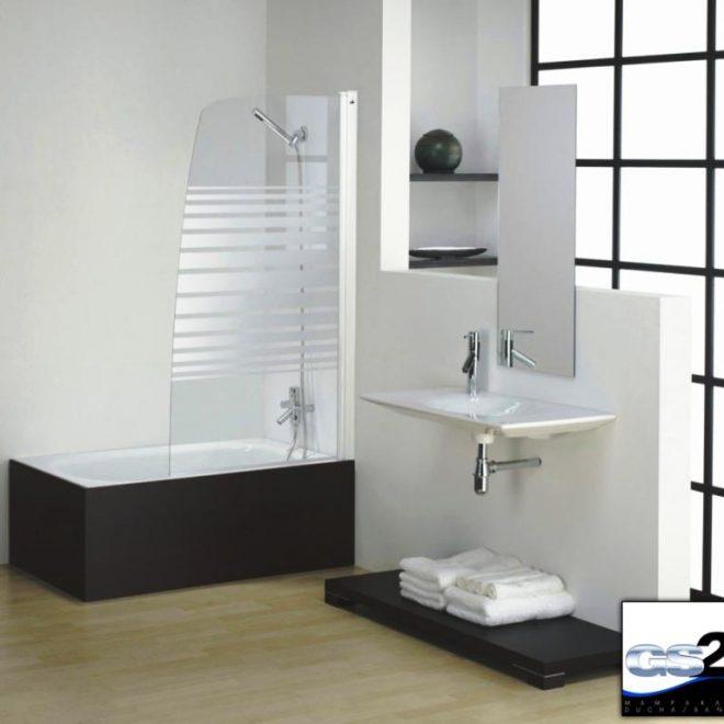 http://glama-mampara-de-baño-en-una-hoja-abatible,-color-lacado-blanco-en-vidrio-transparente-con-decorado-horizontal-